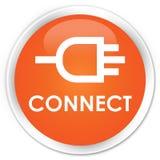 Reliez le bouton rond orange de la meilleure qualité Photo libre de droits