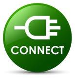 Reliez le bouton rond vert Images stock
