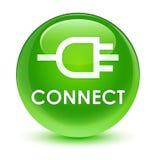 Reliez le bouton rond vert vitreux Photo libre de droits
