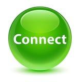 Reliez le bouton rond vert vitreux Photos libres de droits