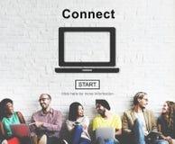 Reliez le concept social de media d'Internet en ligne Photos libres de droits