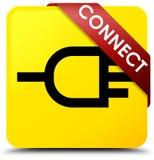 Reliez le ruban rouge de bouton carré jaune dans le coin Photos stock