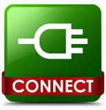 Reliez le ruban rouge de bouton carré vert au milieu Photos libres de droits