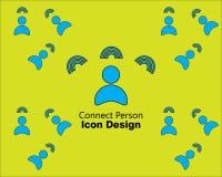Reliez le style plat d'icône de personne ou de conception de logo sur le style vert de fond illustration libre de droits