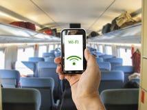 Reliez le wifi sur le train Photographie stock libre de droits