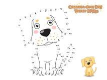 Reliez les points et dessinez le chiot mignon Labrador de chien de bande dessinée Educa Photographie stock