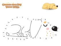 Reliez les points et dessinez le chiot mignon Labrador de chien de bande dessinée Educa Images libres de droits