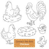 Reliez les points (oiseaux de ferme réglés, famille de poulet) Images stock