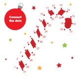 Reliez les points par le jeu éducatif d'enfants de nombres Thème de nouvelle année, canne de sucrerie de Noël illustration libre de droits