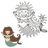 Reliez les points pour dessiner la sirène mignonne et pour la colorer illustration stock
