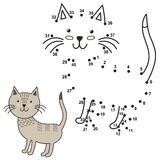 Reliez les points pour dessiner le chat mignon et pour le colorer Photographie stock