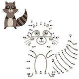 Reliez les points pour dessiner le raton laveur mignon et pour le colorer illustration stock