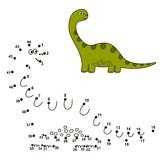 Reliez les points pour dessiner un dinosaure mignon et pour le colorer illustration libre de droits