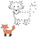 Reliez les points pour dessiner un renard mignon et pour le colorer Photos libres de droits