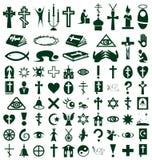 Religião, ícones da fé no branco Fotografia de Stock Royalty Free
