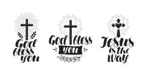 Religião, cruz, ícone da crucificação ou símbolo Rotulação, ilustração do vetor da caligrafia Fotografia de Stock