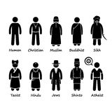 Religião dos povos no mundo Cliparts Imagem de Stock