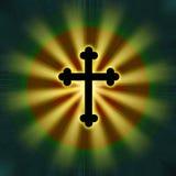 Religión cruzada del símbolo del resplandor Foto de archivo