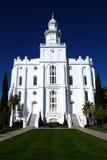 Religión de piedra blanca de la iglesia del templo del St George Mormon LDS fotos de archivo