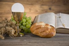 Religión del cristianismo del símbolo, fondo de la comunión Imagen de archivo libre de regalías