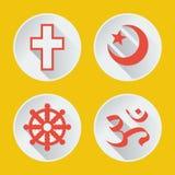 Religiões da parte plana 1 dos ícones do mundo Fotografia de Stock