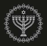 Religiös bakgrund för judisk ferie med menora stock illustrationer