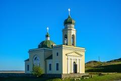 Religiös byggnad, ortodox kristen domkyrka med Green Dome royaltyfri bild