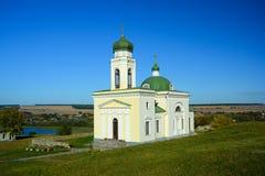 Religiös byggnad, ortodox kristen domkyrka med Green Dome arkivfoto