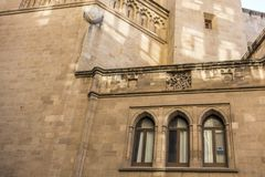 Religiös byggnadsdomkyrka för historisk fasad i Castellon, Spanien Arkivfoton