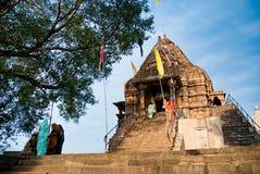 Religiös ferie i tempel av Khajuraho, Indien Arkivbild