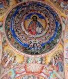 Religiös kristen målning i kyrkan royaltyfri foto