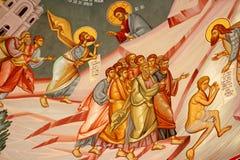 Religiös målning på en klostervägg Royaltyfri Foto
