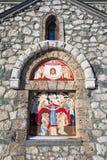 Religiös målning på fasaden av den Templar kyrkan Arkivbilder