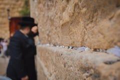 Religiös ortodox jew som ber på den västra väggen i den gamla cien arkivfoto