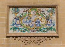 Religiös plats i keramiska tegelplattor i Valencia Royaltyfri Bild