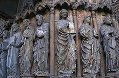 Religiös skulptur för Closeup, domkyrka Leon, Spanien Arkivfoto