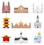 Religiösa byggnader ställde in, islam, buddisten, kristna illustrationer för religiontempelvektor på en vit bakgrund stock illustrationer
