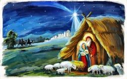 Religiösa konungar för illustration tre - och den heliga familjen - tradition royaltyfri illustrationer