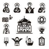 Religiösa symboler stock illustrationer