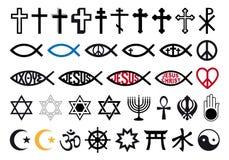 Religiösa symboler, religion undertecknar, vektoruppsättningen stock illustrationer