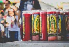 Religiöse Kerzen von Basilikade Guadalupe Lizenzfreies Stockbild