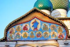 Religiöse Malerei auf Auferstehungs-Kathedralenfassade Lizenzfreies Stockfoto