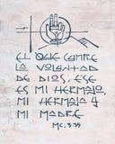 Religiöse Phrase in der spanischen Illustration Lizenzfreie Stockfotos