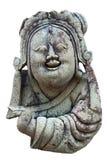 Religiöse Skulptur einer lächelnden Frau auf einem weißen Hintergrund Stockbilder