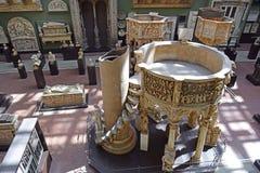 Religiöse Skulpturhalle in Victoria und in Albert Museum, London Stockbild