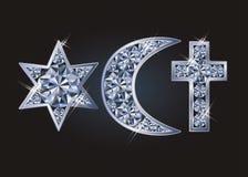 Religiöse Symbole jüdischer David-` s Stern, islamischer Halbmond, christliches Kreuz lizenzfreie abbildung