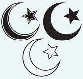 Religiöser islamischer Stern und Halbmond lizenzfreie abbildung