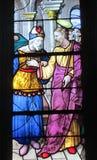 Religiöses Bild auf Buntglas in der Kirche Lizenzfreie Stockfotografie