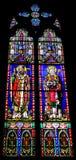 Religiöses Bild auf Buntglas in der Kirche Lizenzfreies Stockfoto