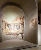 Religiöses Fresko in der mittelalterlichen Halle der romanischen Kunst Lizenzfreie Stockfotografie